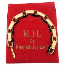 KJL Kenneth Jay Lane Enamel Link Bracelet