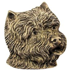Sterling Silver West Highland Terrier Figural Face Pin Detailed Dog