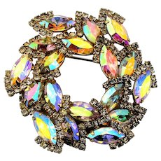 Mega Sparkling WEISS Aurora Borealis Rhinestone Pin Brooch Fiery Crystals