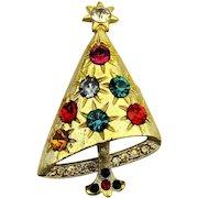 Tipsy Rhinestone Christmas Tree Pin