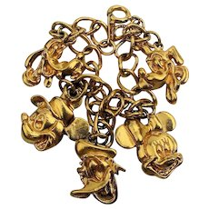 Vintage Disney Characters Charm Bracelet Head Charms