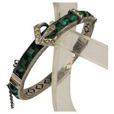 Art Deco Signed Sterling Silver Faux Emerald Bracelet