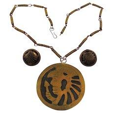 Old Mexican Folk Art Pendant Necklace Earrings Set Brass / Copper