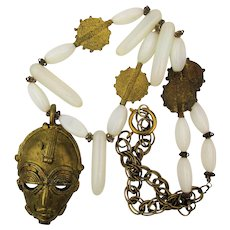 Vintage Tribal Necklace Opalescent Glass w/ Edgy Brass Mask