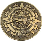 Signed BERTHA Mexican Sterling Silver Aztec Mayan Pin Pendant