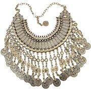 Huge Ethnic Coin Dangles Necklace Bib Majestic Silvertone