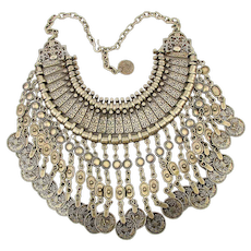 Huge Ethnic Coin Dangles Necklace Bib Majestic Silvertone