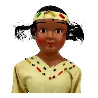 1940s Big Bisque American Indian Girl Doll in Original Box