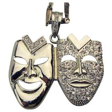 Two Heads Comedy Glittery Pendant Necklace - Chrome Rhinestone