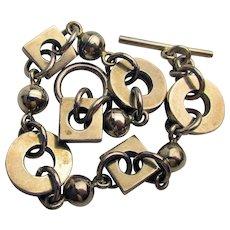 Sterling Silver Link Bracelet - Circles Squares Balls