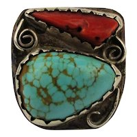SOLD - Large Native American Ring Sterling Silver Turquoise Red Coral