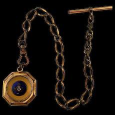 Victorian Gold-Clad Enamel Masonic Fob Emblem on Watch Chain
