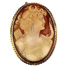Large 14K Gold Carved Shell Cameo Pin Pendant 21 gr Goddess Artemis Diana