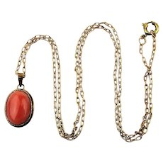 So Pretty 14K Gold CORAL Drop Pendant Necklace