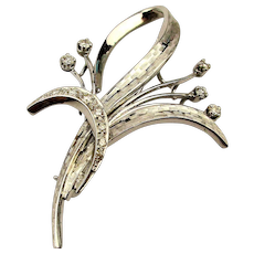 Estate French 18K White Gold Diamond Pin Brooch