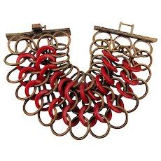 Vintage Wide Loopy Copper w/ Red Lucite Bracelet