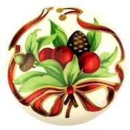 Vintage Tiffany & Co. Holiday Porcelain Box Japan - Berries Acorn Ribbons