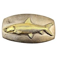 Heavy Sterling Silver FISH Belt Buckle - Signed