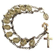 Sterling Silver Crystal Filigree Bracelet w/ Christian Charms Cross