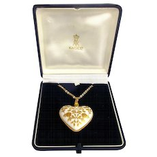 Vintage 1979 Kaiser Porcelain Heart ~ Mother's Day ~ Pendant Necklace in Orig. Box