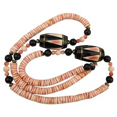 Vintage Handmade Necklace Angel Skin Coral Horn Shell Beads Inlaid Barrels