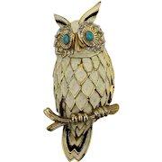 Vintage JOMAZ Enamel Owl Pin Brooch w/ Jewels