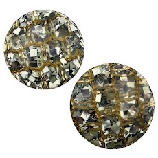 Big Lucite Confetti Shell Clip Earrings - Filled With Sparkle