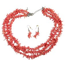 Vintage 3 Strand Pink Branch Coral Necklace w/ Earrings