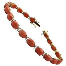 Gorgeous 14K Gold Bracelet w/ 20 Angel Skin Coral Links