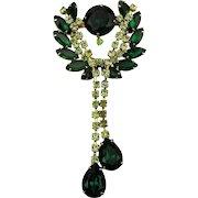 Dangling Faux Emerald Crystal Rhinestone Pin Brooch