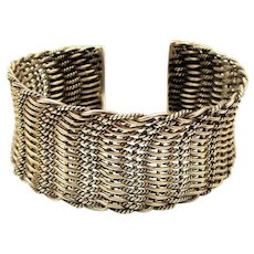 Wide Woven Sterling Silver Cuff Bracelet