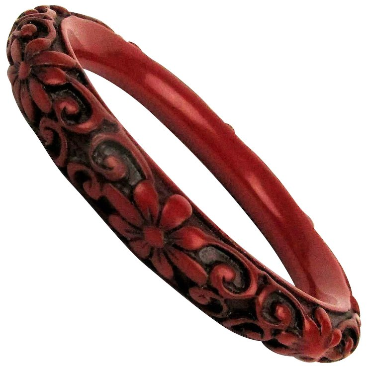 Vintage Chinese Cinnabar Bangle Bracelet Carved Fl