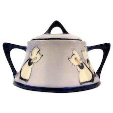 1920s Bavarian Sunbonnet Babies Sugar Bowl - Handpainted Porcelain