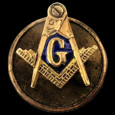 Mini c1900 Masonic 14K Gold Lapel Pin Emblem