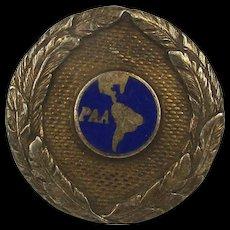 1930s Sterling Silver Enamel Pan American Airlines Lapel Pin