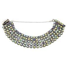 Vintage 5 Row Blue Aurora Borealis Rhinestone Bracelet