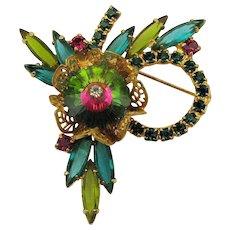 Christmas Pin w/ Watermelon Rhinestones Filigree / Wreath