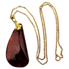 Old Genuine Baltic Amber Pendant Gold-Filled Chain Necklace