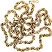 Twisting Vintage 14K Yellow Gold Chain 18 Inches Necklace