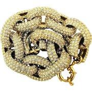 Vintage Chunky Rhinestone Link Chain Bracelet