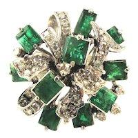 Estate 10K White Gold Diamond Emerald Cocktail Ring