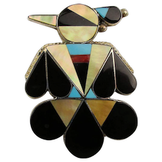 Zuni Thunderbird Pin Pendant Multi Gem Inlay Signed A. Dishta w/ Bonus