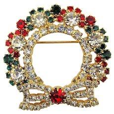 Vintage Crystal Rhinestone Christmas Wreath Pin Brooch