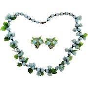 c1950 West Germany Glass Flower Necklace Earrings Set