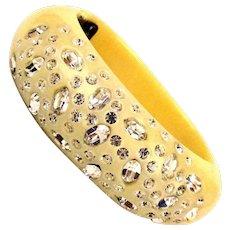 Weiss Lucite Thermoplastic Rhinestone Clamper Bracelet c1950s