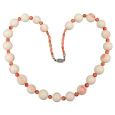 Vintage Angel Skin Coral Beads Milk Glass Coral Necklace