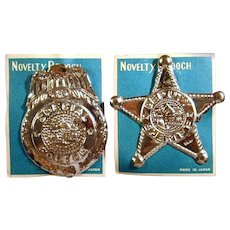 1950s Toy Tin Badge Lot - Deputy Sheriff - Special Police - Novelty Brooch on Card