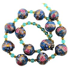 Venetian Art Glass Wedding Cake Bead Necklace w/ Pink Roses