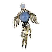 Joseph Mazer Rhinestone Jelly Belly Bird Pin Brooch