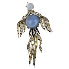 Joseph Mazer Rhinestone Jelly Belly Bird Pin Brooch